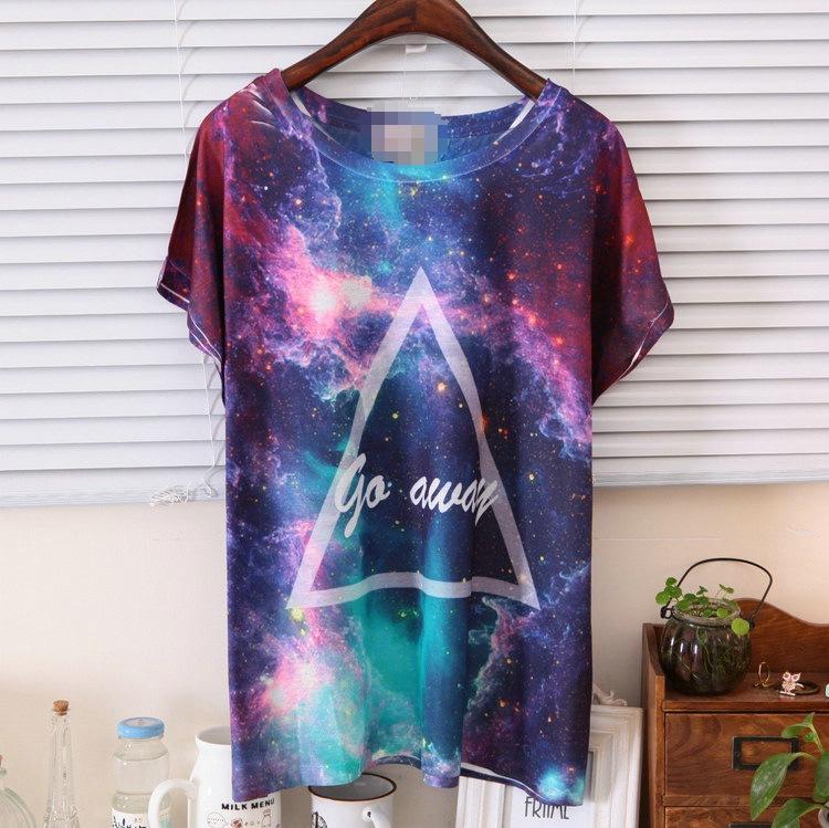 Galaxy triangle go away purple tee shirt ebay for Galaxy white t shirts wholesale
